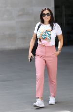 Kym Marsh Stuns in pastel-coloured trousers and white T-shirt as she smiles while leaving the BBC studios in London