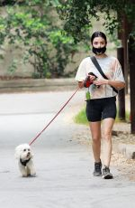 Lucy Hale Goes for a hike with Elvis in LA