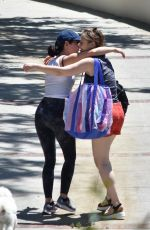 Lucy Hale Seen visiting a girlfriend with her dog Elvis in Studio City, California