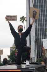 Madison Beer protesting in Hollywood
