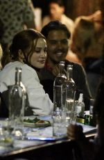 Margaret & Rainey Qualley having dinner with Madelaine Petsch in Hollywood