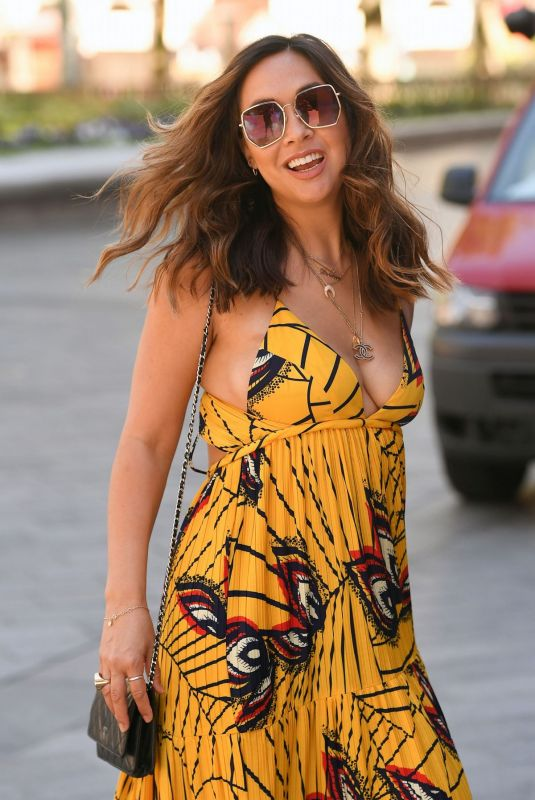 Myleene Klass In a Summer Dress Arrives at Smooth Radio in London