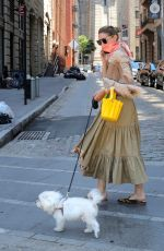"Olivia Palermo Pictured on her wedding anniversary day taking her dog ""Mr Butler"" out for a walk in Downtown, Brooklyn"