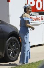 Sarah Michelle Gellar Looks amazing in blue off the shoulder denim jumpsuit in Pacific Palisades