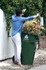 Selma Blair Goes barefoot as she steps out to take out her trash in the garbage bin on her birthday in Los Angeles