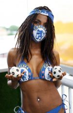 Sinitta Pictured in a Chelsea FC Themed Trikini