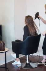 Stacey Hampton Spotted getting a colour and blow dry in Adelaide