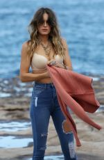 Stephanie Claire Smith Changing clothes on the set for a photoshoot in Sydney