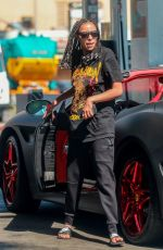 Tinashe Gasses up her convertible Ferrari in Beverly Hills
