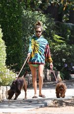 Alessandra Ambrosio Walking her dogs in Brentwood