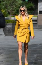 Ashley Roberts Leaves the Heart Radio studios wearing a yellow dress and matching heels in London