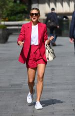 Ashley Roberts Steals the spotlight in pink shorts suit at Heart Radio in London