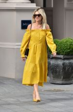 Ashley Roberts Stuns in mustard yellow River Island dress out in London