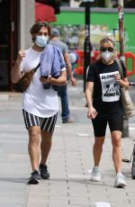 Ashley Roberts Wears face mask while leaving soup kitchen after doing voluntary work in London
