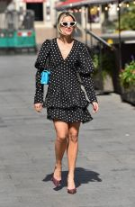Ashley Roberts Wears polka dot dress flashes long legs exits Heart radio in London