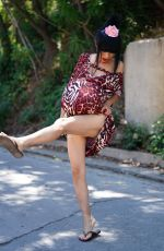 Bai Ling Wears a pregnant belly on the set of her directorial debut titled