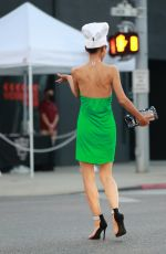 Bai Ling With a chef hat poses with Marcela Iglesias in Beverly Hills