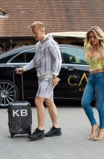 Bianca Gascoigne and Kris Boyson are seen arriving at The Cave hotel in Faversham