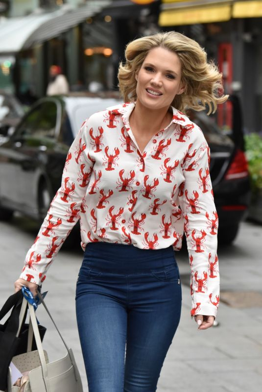 Charlotte Hawkins Stuns in lobster print blouse and leggings arrives Classic FM in London