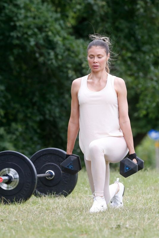Chloe Sims Being put through her paces as she works out with her personal trainer Michael Evans