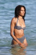 Cindy Bruna Enjoys the day with her sister at Verde Beach in St Tropez, France