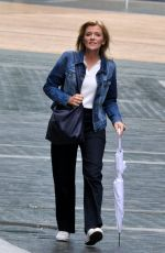 Jane Danson Out in a rainy Manchester during a break from Filming