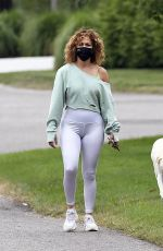Jennifer Lopez Out for a walk in the Hamtpons