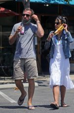 Jordana Brewster Has lunch while shopping in Santa Monica