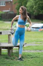 Katie Waissel Shows off her tiny frame as she exercises in North London