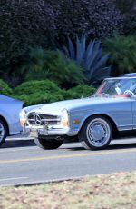 Katy Perry Driving Her Classic Mercedes Convertible in Santa Barbara