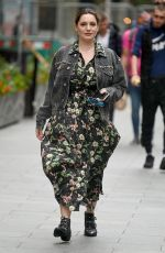 Kelly Brook Arrives Heart radio battles with elements in windy conditions in London