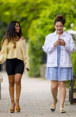 Kelly Brook Looks stylish in a broderie dress and denim jacket as she strolls with pal Preeya Kalidas in London