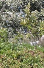 Kim Kardashian Spotted on a grassy hillside as she is filming for