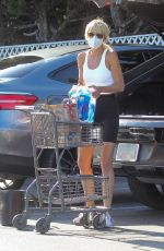 Kimberly Stewart Loads her groceries and large dog into her car after shopping at Bristol Farms in Beverly Hills