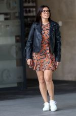 Kym Marsh In a minidress and leather jacket as she exits BBC TV studios in London