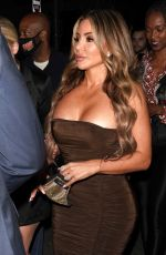 Larsa Pippen Slays in brown dress for dinner at Il Pastaio restaurant in Beverly Hills