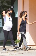 Lea Michele Cradles baby bump on walk with mother Edith in Santa Monica