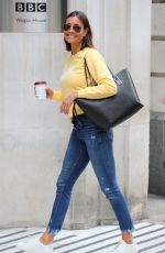 Melanie Sykes Looks chic in yellow pictured arriving at BBC studios in London