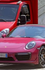Michelle Hunziker Drives her flashy pink porsche out in Milan