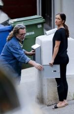 Minka Kelly Putting a mailbox together with her dad in LA