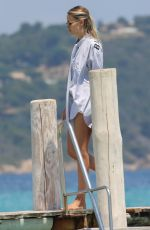 Natasha Poly Arrives at the Club 55 in Saint-Tropez