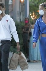 Nina Agdal And boyfriend Jack Brinkley-Cook were seen getting food to go at Tutto Il Giorno restaurant in The Hamptons, New York