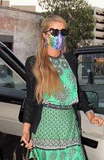 Paris Hilton Shows off her custom facemask as she arrives at The Ivy in Los Angeles