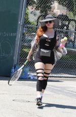 Phoebe Price Attends tennis practice in ripped up leggings at the park in Los Angeles