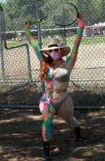 Phoebe Price Seen wearing tie-dye outfit