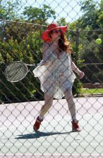 Phoebe Price Wearing an American flag bikini at the tennis court on Saturday in Studio City