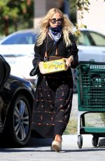 Rachel Zoe Dons a black maxi dress and wedge espadrilles sandals whole grocery shopping at Whole Foods Malibu