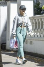 Rita Ora Seen out & about wearing a green gym wear in Notting Hill
