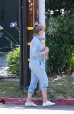 Sarah Michelle Gellar Looks youthful in a denim jumper as she is spotted dropping off her daughter at a friend