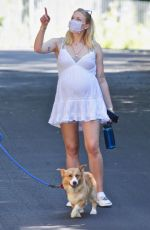 Sophie Turner Shows off her growing baby bump on a walk with her parents and husband Joe Jonas in Encino